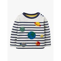 Mini Boden Baby Planet Breton T-Shirt, Ivory/Beacon Blue