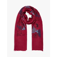 Brora Embroidered Wool Stole, Ruby