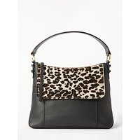 Boden Walcot Snow Leopard Print Flap Bag, Black/Snow Leopard