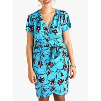 Yumi Curves Floral Wrap Dress, Teal