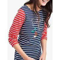 Joules Festive Bird Stripe Harbour Jersey Top, Navy/Red