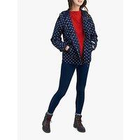 Joules Coast Print Hooded Jacket, Navy Spot