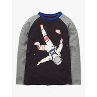 Mini Boden Boys' Outer Space Raglan T-shirt, Volcanic Rock Grey