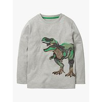 Mini Boden Boys' Superstitch Dinosaur T-Shirt, Grey Marl