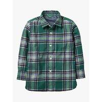 Mini Boden Boys' Brushed Check Shirt, Pine Green/Navy