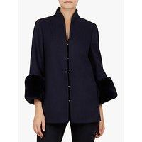 Ted Baker Rilly Faux Fur Cuff Wool Coat, Dark Blue