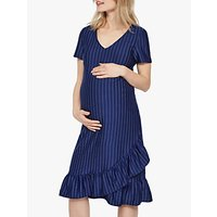 Mamalicious Linnea Jersey Frilled Stripe Maternity Dress, Blue Depths