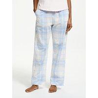 John Lewis & Partners Nessa Check Cotton Pyjama Bottoms, Blue/Ivory