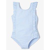 John Lewis & Partners Girls' Seersucker Stripe Ruffle Swimsuit, Blue