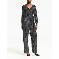 Lauren Ralph Lauren Leslie Polka Dot Jumpsuit, Black/Lauren White