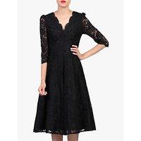 shop for Jolie Moi Puff Shoulder V-Neck Lace Dress, Black at Shopo