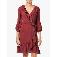 Adrianna Papell Pebble Wrap Flare Dress, Pale Mahogany