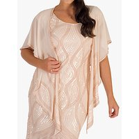 Chesca Embellished Bead Shawl, Pink