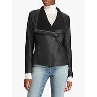 Lauren Ralph Lauren Drape Leather Jacket, Black