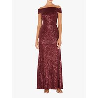 Adrianna Papell Bardot Neckline Long Dress