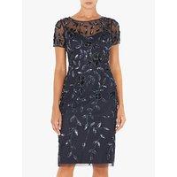 Adrianna Papell Short Sleeve Beaded Floral Dress, Blue