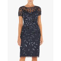 Adrianna Papell Short Sleeve Beaded Floral Dress, Blue