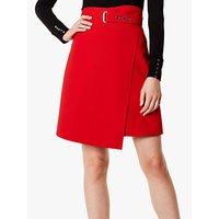 Karen Millen A-line Wrap Mini Skirt, Red