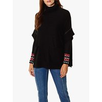 Karen Millen Chain Trim Wool Poncho, Black