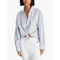 Polo Ralph Lauren Wide Stripe Cropped Oxford Shirt, White/Blue