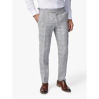 Richard James Mayfair Linen Check Slim Fit Suit Trousers, Grey