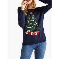 Yumi Embroidered Christmas Tree Jumper, Dark Navy