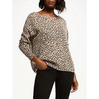 360 Sweater Paris Animal Bardot Neck Jumper, Shell Charcoal/multi