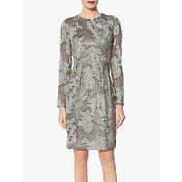 Gina Bacconi Evie Embroidered Chiffon Dress, Grey