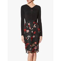 Gina Bacconi Iga Embroidered Dress, Black/Red