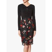 shop for Gina Bacconi Iga Embroidered Dress, Black/Red at Shopo