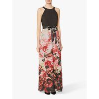 Gina Bacconi Elia Chiffon Floral Skirt Dress, Black/Red