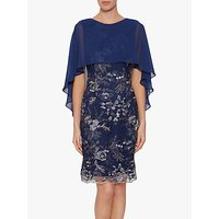 Gina Bacconi Jodelle Cape Dress, Navy