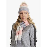 Betty Barclay Bobble Colour Block Stripe Hat And Scarf Set, Silver/apricot
