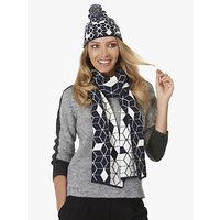 Betty Barclay Bobble Geometric Print Hat And Scarf Set, Navy/white