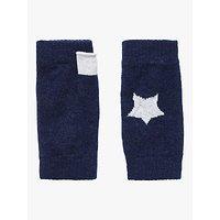 Brora Star Print Cashmere Wristwarmers, French Navy