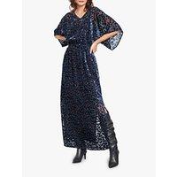 Hush Devore Leopard Print Kimono Dress, Black/navy
