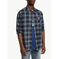 Scotch and Soda Brushed Cotton Check Shirt, Blue
