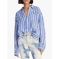 Polo Ralph Lauren Wide Stripe Cropped Linen Oxford Shirt, Royal/White