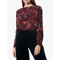 L.K.Bennett Julisa Woven Floral Top, Red Multi