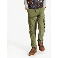 John Lewis and Partners Boys Lined Cargo Trousers, Green