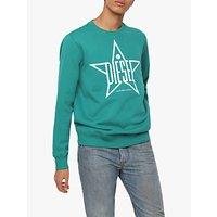 shop for Diesel S-Gir-Ya Star Print Sweatshirt, Teal at Shopo