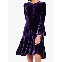 Ghost Adela Velvet Dress, Deep Purple