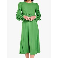 Ghost Niamh Frill Detail Midi Dress, Green