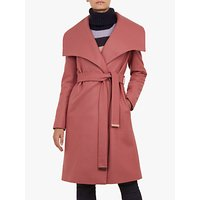 Ted Baker Collar Wrap Front Wool Coat, Coral