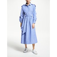 Weekend MaxMara Frill Sleeve Stripe Maxi Dress, Blue