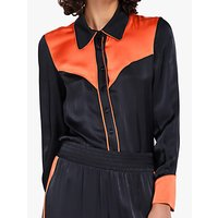 Ghost Amelia Contrast Panel Piped Blouse, Charcoal/Orange