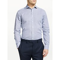 John Lewis and Partners Puppytooth Cotton Linen Tailored Fit Shirt, Navy