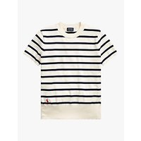 RALPH LAUREN | Polo Ralph Lauren Breton Stripe Pima Cotton Top, Dark Cream/Bright Navy | Goxip