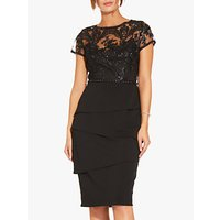 Adrianna Papell Short Sequin Layered Dress, Black