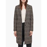 Allsaints Indra Check Coat, Charcoal Grey